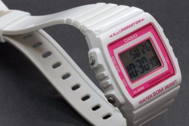 W-215H-7A2 White 50m Casio Watch Unisex Digital Alarm Chronograph Resin Band New