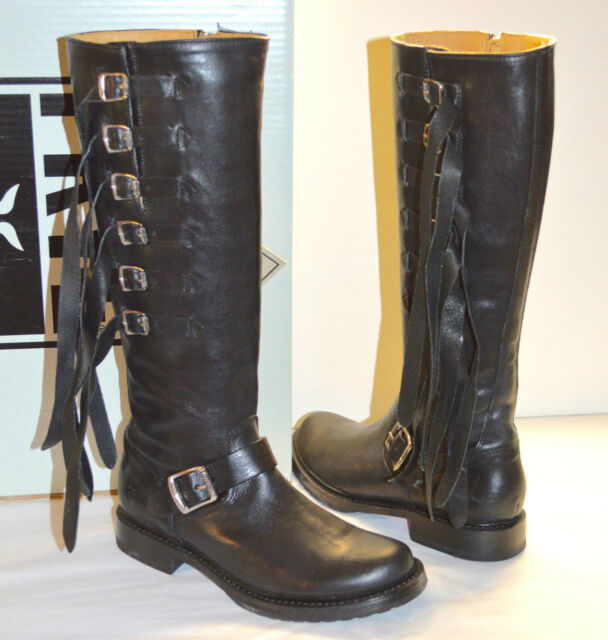 New $498 Frye Veronica Strap Tall Black Leather Moto Boots Fringe Straps  Tall