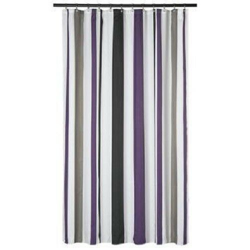 Superbe Extra Long Shower Curtain 72 X 78 Inch GAMMA Purple And Gray Stripes Fabric  | EBay