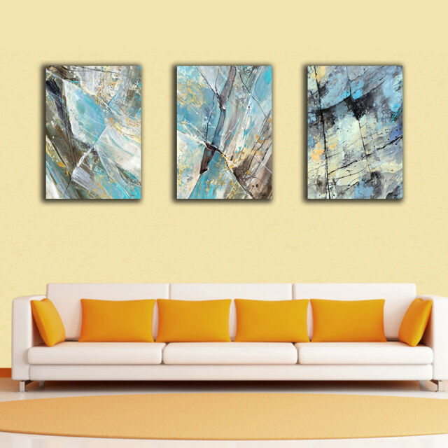 3 40×60×3cm Framed Canvas Prints Abstract Blue Black Yellow Wall Art ...