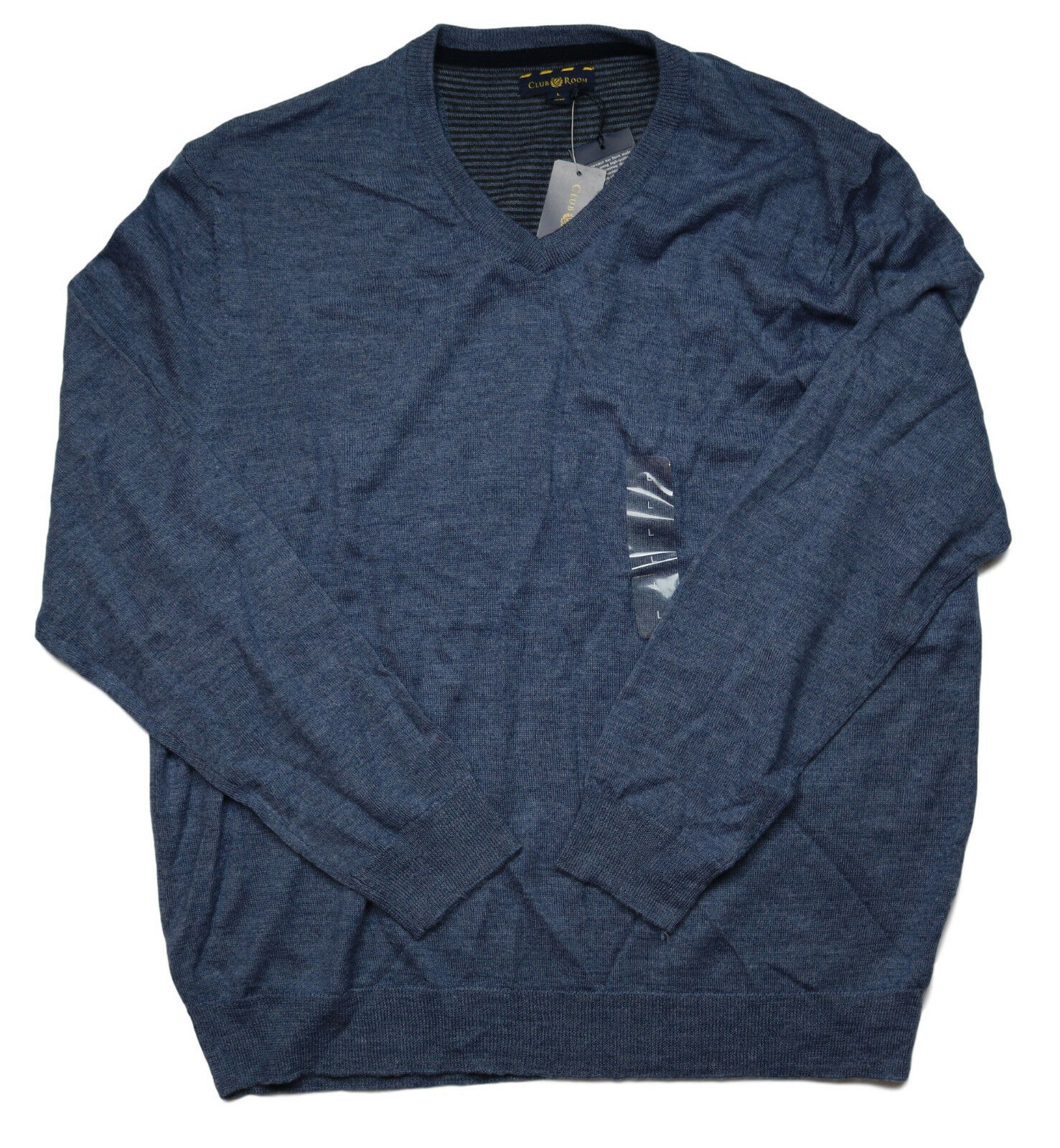 Club Room Heather Blue Mens Size Large L V-neck Wool Blends ...