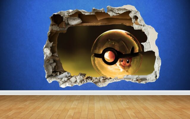 Pokemon Go Pikachu 3D Style Smashed Wall Sticker Kids Childrens Bedroom  Vinyl Part 71