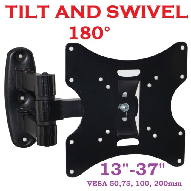 "3D LCD TV SWIVEL TILT WALL MOUNT BRACKET 15 17 19 22 26 32 37"" VESA 75 100 200mm"