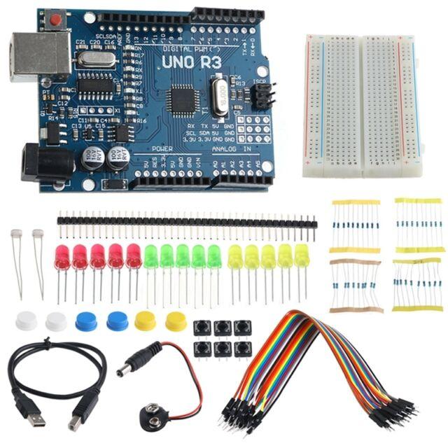 Starter UNO R3 Mini Breadboard LED Jumper Wire Button Kit for Arduino 1Set