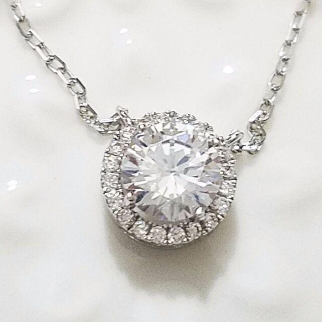 2 ct round diamond halo pendant necklace 14k white gold plated 16 2 ct round diamond halo pendant necklace 14k white gold plated 16 chain ww22 mozeypictures Image collections