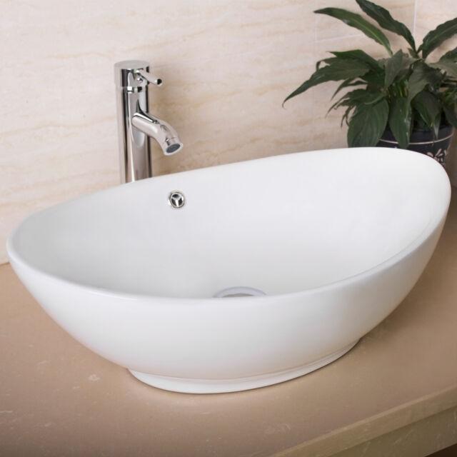 Oval Egg Porcelain Ceramic Bathroom Faucet Vessel Sink Vanity Popup Drain  Combo