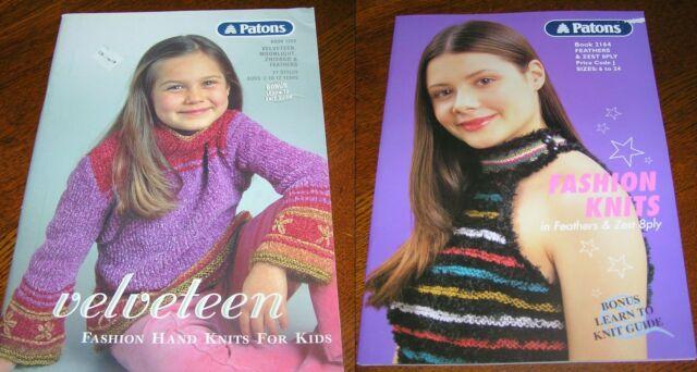 2 Patons Knitting 32 Pattern Books Kids Boys Girls Tweens 2-12 YO & 6-24 Young
