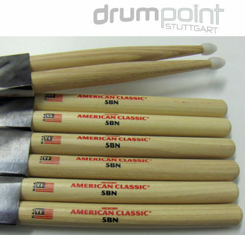 12 Paar original Vic Firth American Classic Hickory 5BN 5B Nylon Sticks  TOPDEAL