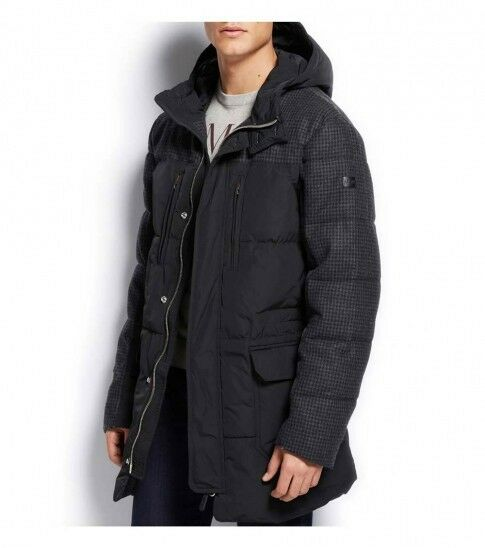 Men Armani Jeans Houndstooth Long Puffy Water Resistant Winter ...