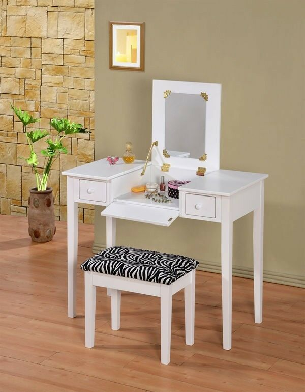 Picture 1 of 4 ... & Wooden Makeup Vanity Table Set With Flip Mirror White or Espresso | eBay