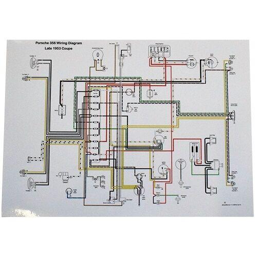 full color wiring diagram porsche late 1953 356 pre a volt reg on diagram for tachometer 1984 porsche 944 full color wiring diagram porsche late 1953 356 pre a volt reg on bulkhead ebay