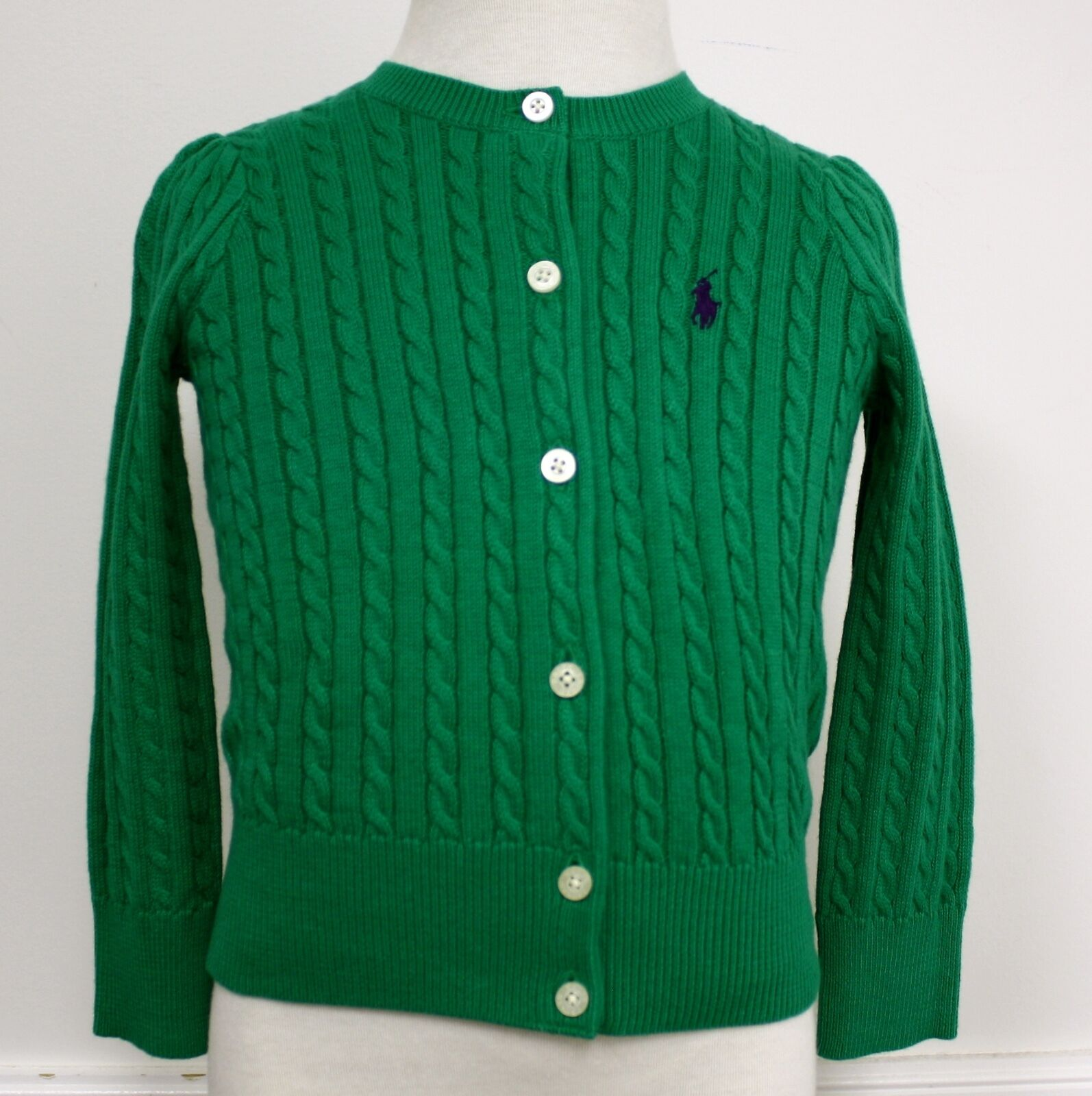 Ralph Lauren Cardigan Sweater Green Button Toddler Cable Knit ...