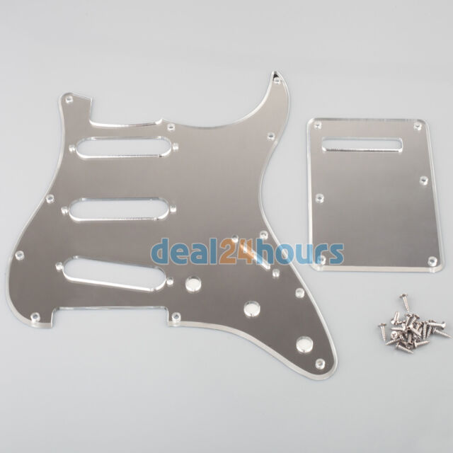 1-Ply 11 Hole Chrome Strat SSS Mirror Guitar Pickguard+Back Plate Tremolo Cover
