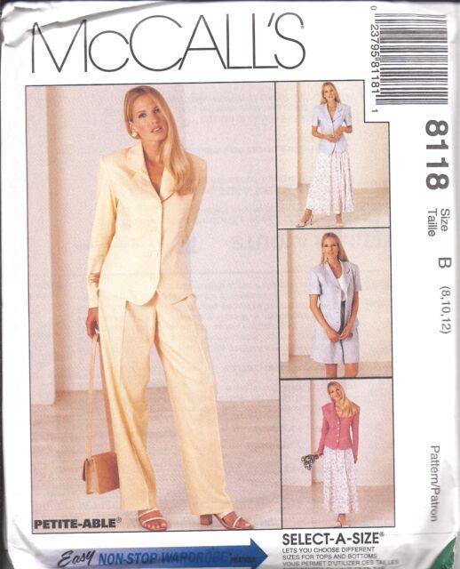 Easy Princess Jacket Pants Shorts Skirt Wardrobe McCalls Sewing ...