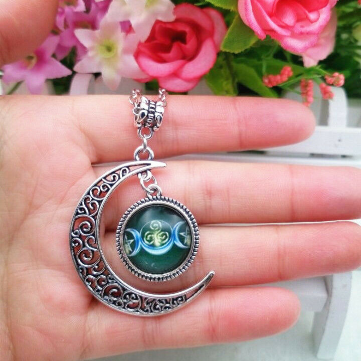 Triple moon goddess necklace dark green moon wiccan pagan wicca picture 1 of 1 aloadofball Image collections