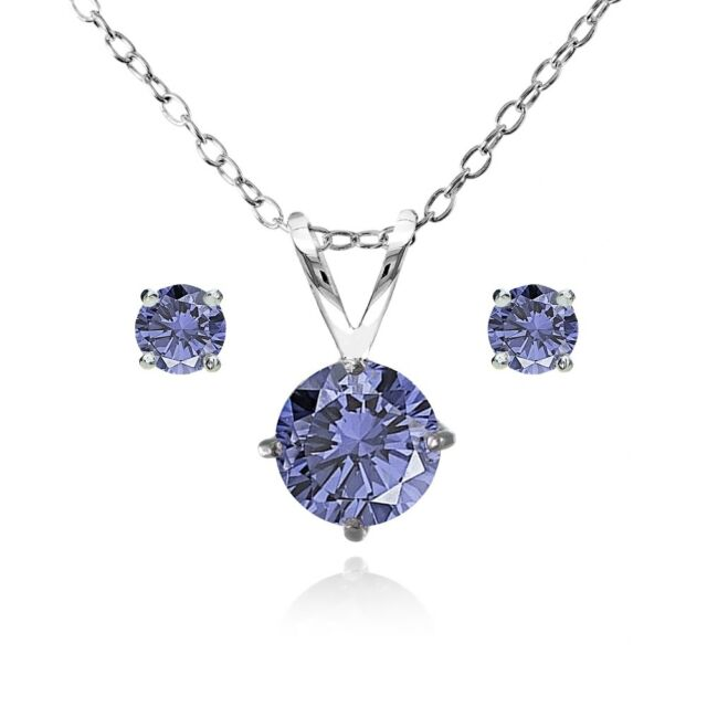 Round Solitaire Simulated Tanzanite Necklace Stud Earrings Set In 925 Silver