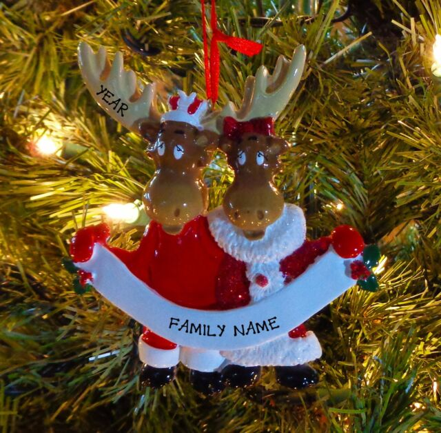 moose family 2 personalize it yourself christmas tree ornament ebay