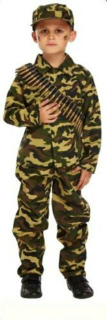 Boy Boys Army Camouflage Soldier Book Day Fancy Dress Costume Various Sizes