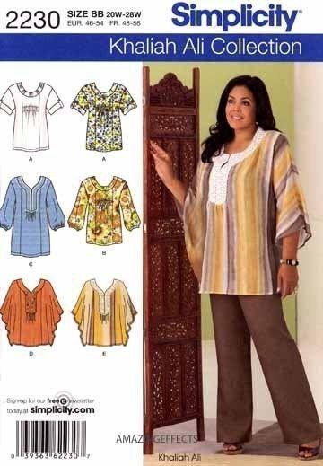 Simplicity 2230 Sewing Pattern Khaliah Ali Tunic Top Misses 10 18
