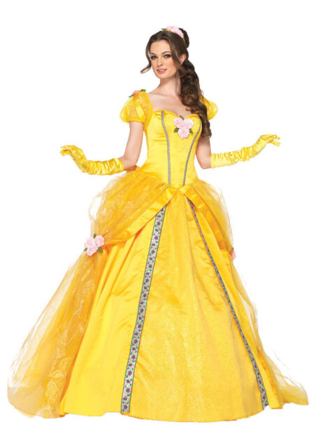 Disney Princess Belle Deluxe Adult Womens Costume Yellow Gown Cosplay Leg Avenue  sc 1 st  eBay & Adult Deluxe Princess Belle Ball Gown Disney Halloween Costume S | eBay