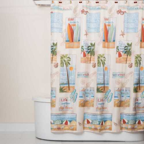 Saturday Knight Beach Time Fabric Shower Curtain 70 X 72 In100 Polyester Mm  3951 | EBay