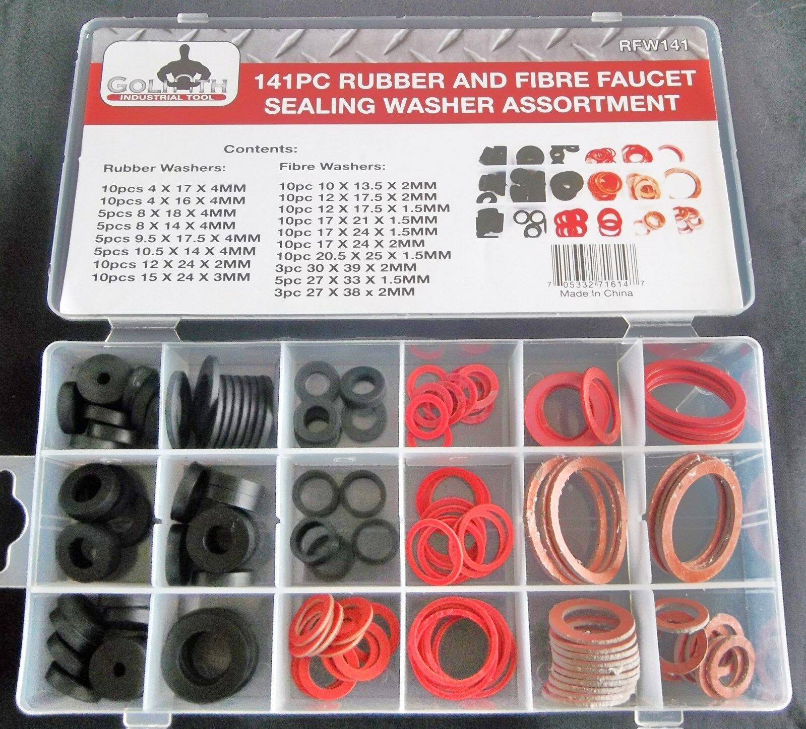 141pc G Industrial Tool Rubber / Fibre Faucet Sealing Washer ...