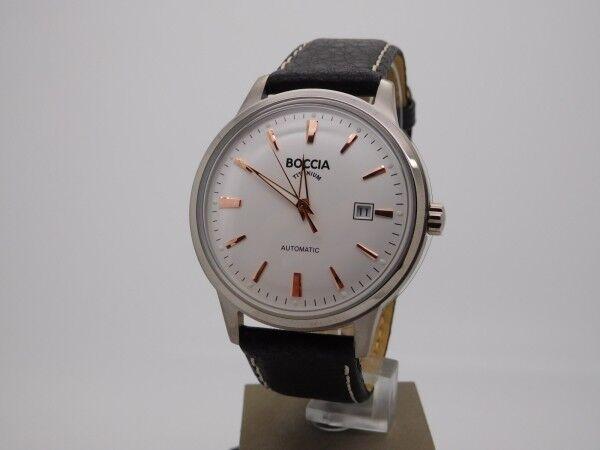 Boccia Titanium Herrenuhr Uhr Automatik Datum Leder Glasboden 3586-03