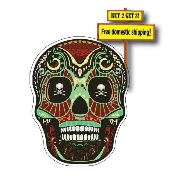 Day of the dead mexican sugar skull green skull eyes truck decal sticker dod14
