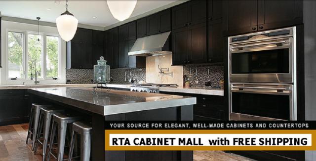 Dark Shaker Kitchen Cabinets 14 foot straight run or custom fit RTA sr1113Den & Dark Shaker Kitchen Cabinets 14 Foot Straight Run or Custom Fit RTA ...