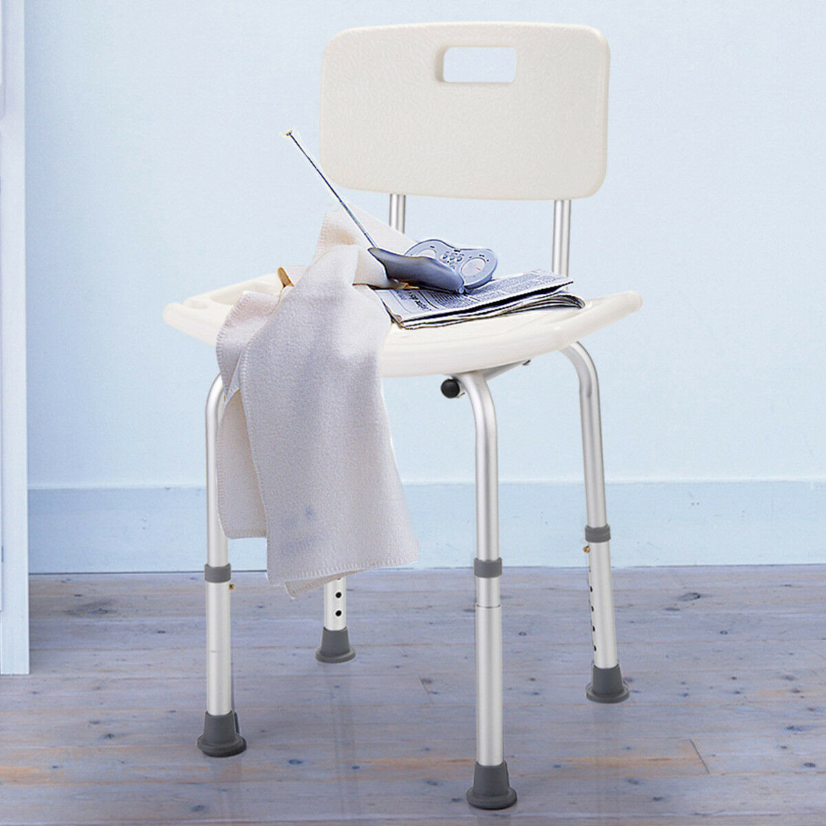 6 Height Adjustable Medical Shower Bath Chair Stool Detachable ...
