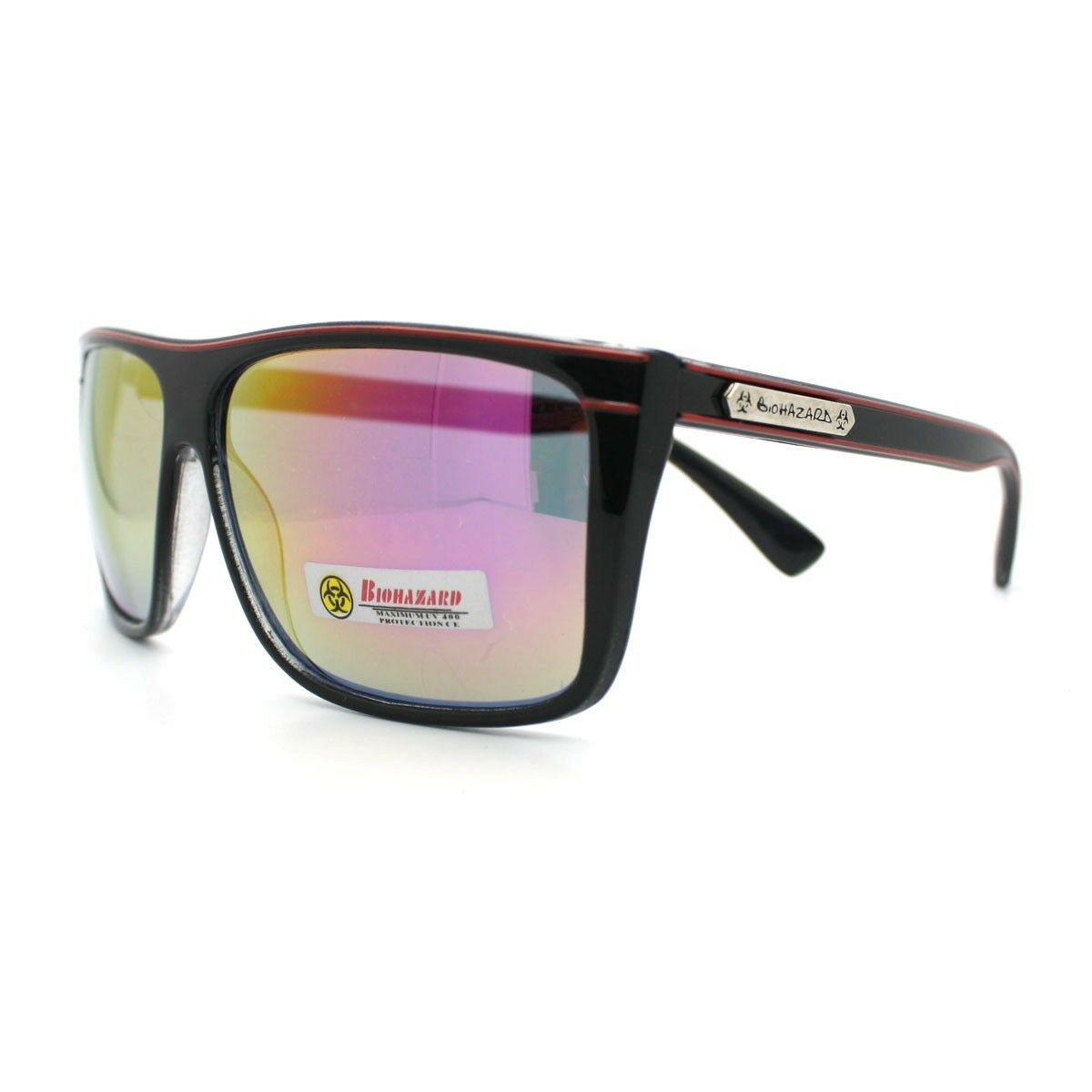 6ebd4aa81a1 Biohazard Sunglasses Mens Square Sporty Skater Fashion Frame Black ...