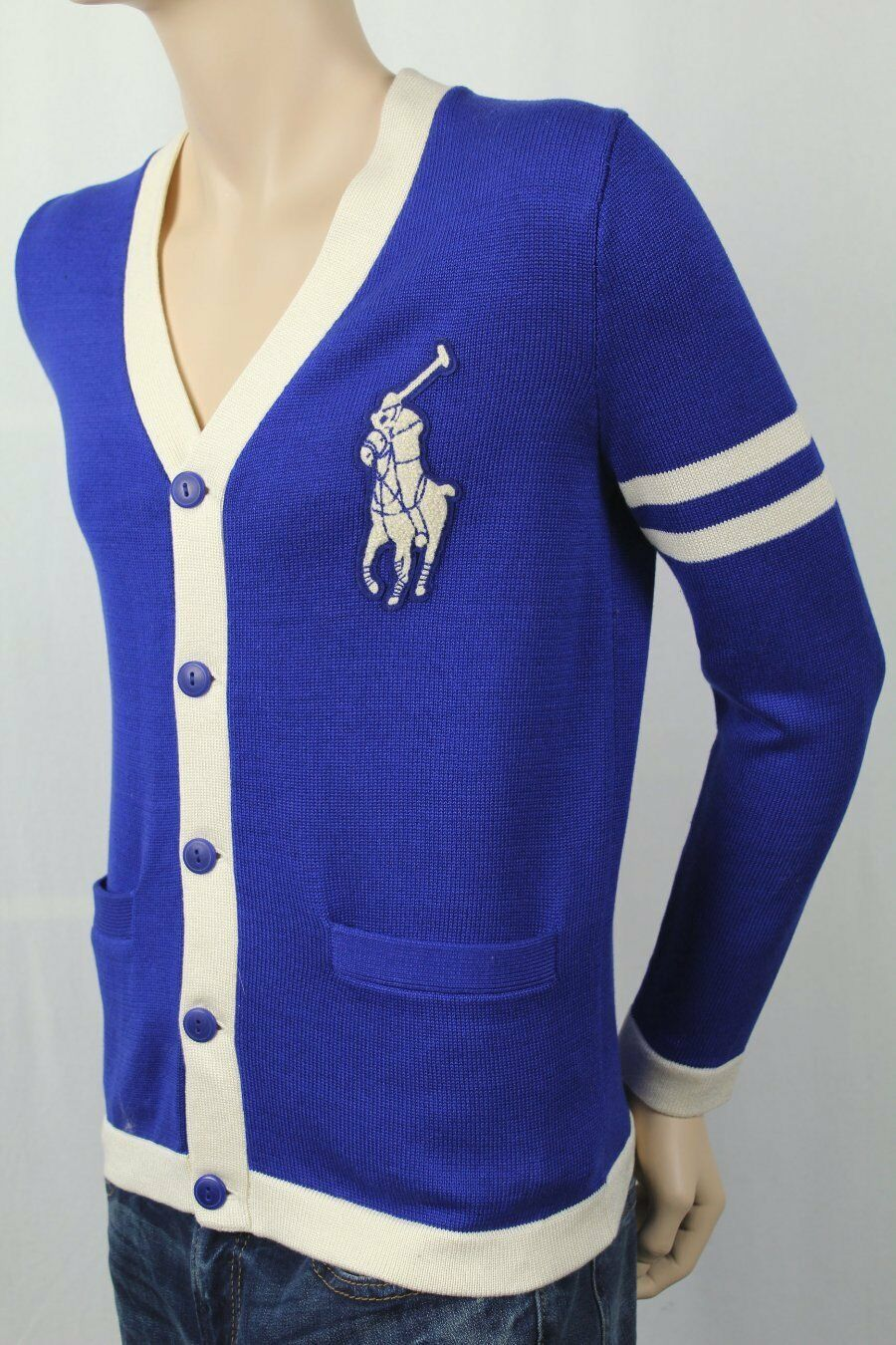 Children Polo Ralph Lauren Royal Blue Cardigan Sweater Big Cream ...