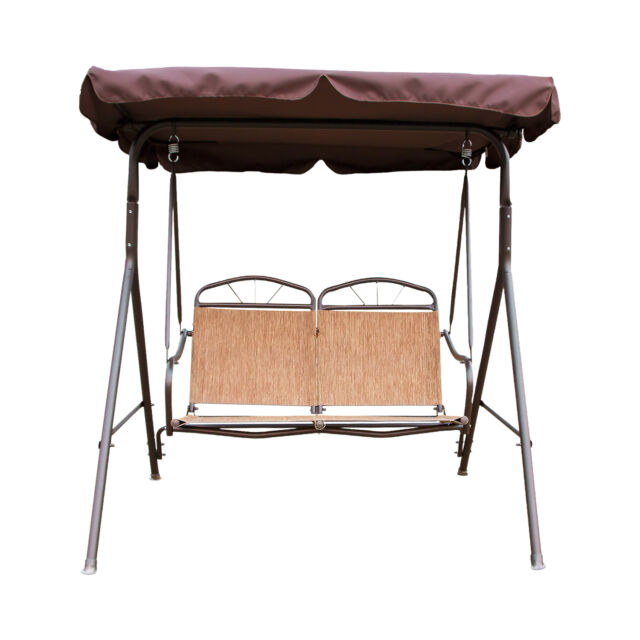 2 Person Swing Outdoor Patio Canopy Awning Yard Furniture Hammock Metal Brown  sc 1 st  eBay & 2 Person Seater Patio Canopy Swing Chair Backyard Seat Beach Porch ...