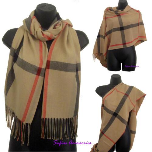 bufanda larga chal pashmina envolver beige camel tartan cuadros para hombre para mujer damas