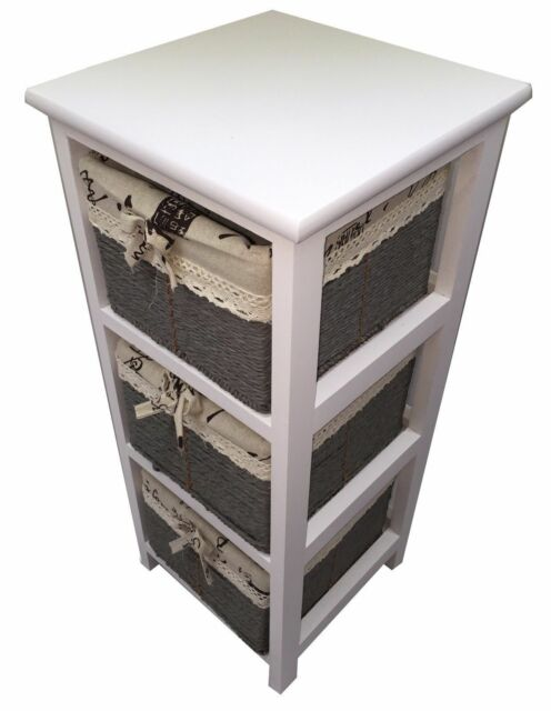 3 Basket Drawer Bathroom Storage Unit Cabinet white wooden slim 3 drawer unit maize baskets cabinet storage