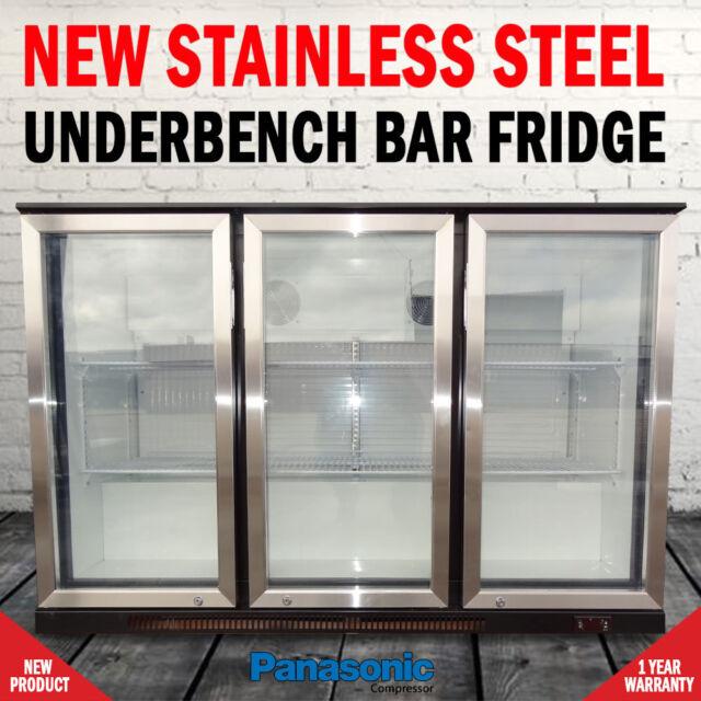 NEW Free Standing 330 Litre Under Bench 3 Door Fridge With Stainless Steel Doors