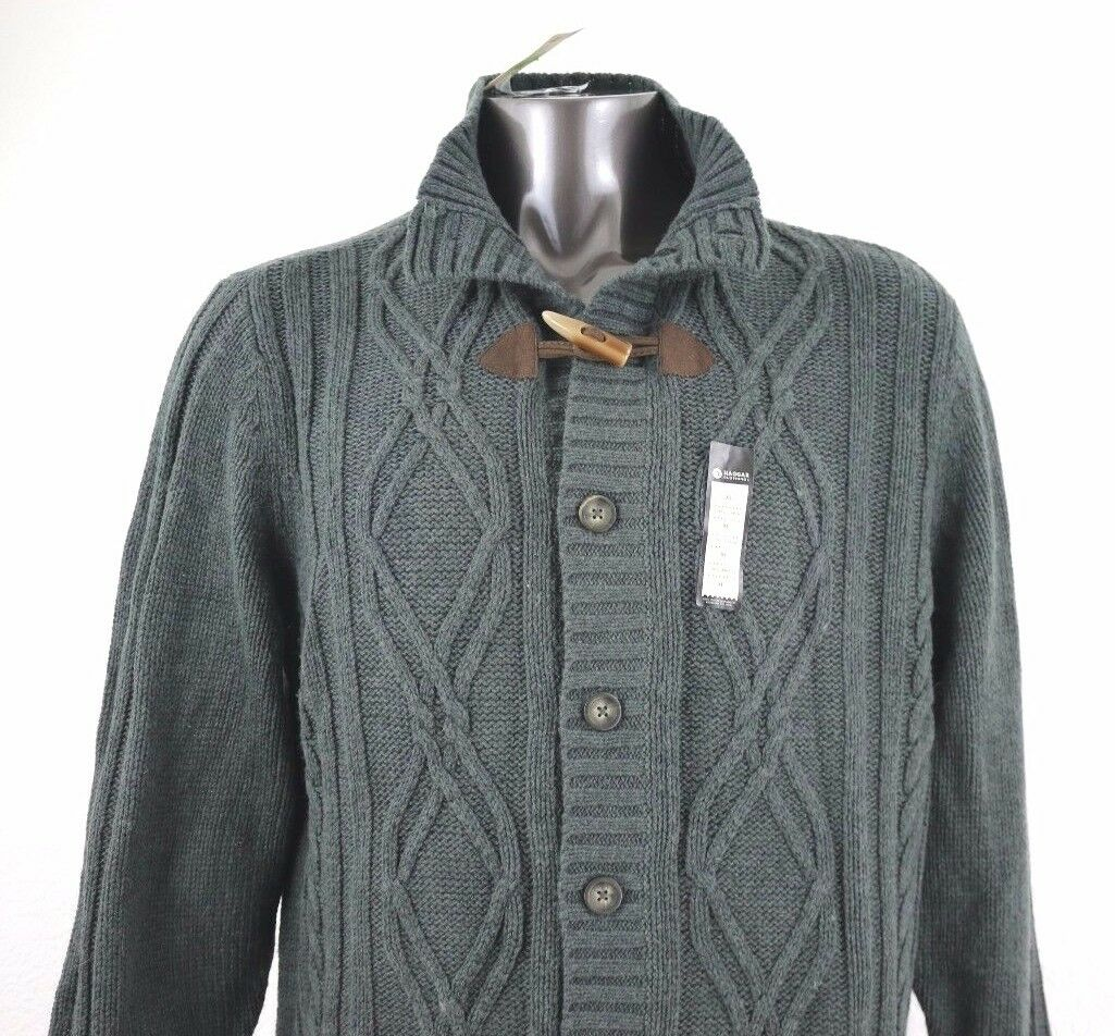 Haggar Mens Dark Grey Wool Blend Cardigan Cable Knit Sweater Size ...