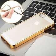 Apple Iphone 5 5S gold metallic border soft silic...